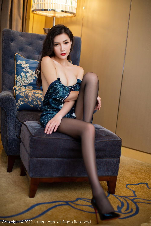 [XiuRen] Vol.2411 Xia Yue 16P, Black Silk, Cheongsam, Tall, Temperament, Xia Yue, Xiuren