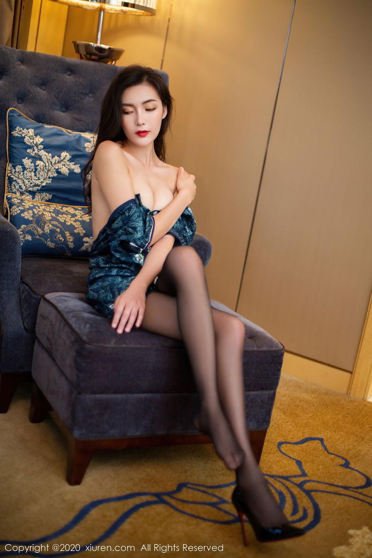 [XiuRen] Vol.2411 Xia Yue 17P, Black Silk, Cheongsam, Tall, Temperament, Xia Yue, Xiuren