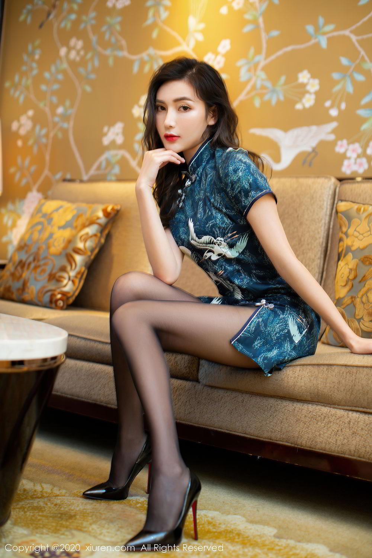 [XiuRen] Vol.2411 Xia Yue 1P, Black Silk, Cheongsam, Tall, Temperament, Xia Yue, Xiuren