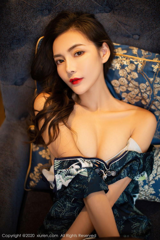 [XiuRen] Vol.2411 Xia Yue 22P, Black Silk, Cheongsam, Tall, Temperament, Xia Yue, Xiuren