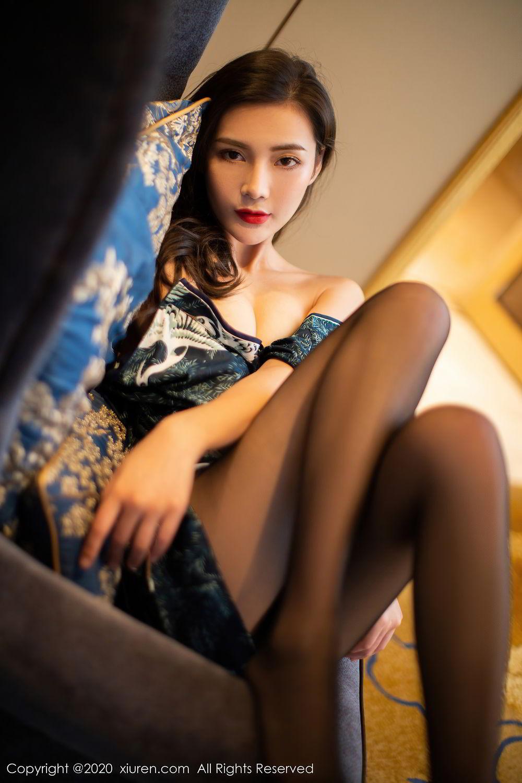 [XiuRen] Vol.2411 Xia Yue 28P, Black Silk, Cheongsam, Tall, Temperament, Xia Yue, Xiuren