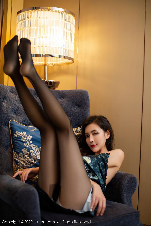 [XiuRen] Vol.2411 Xia Yue 29P, Black Silk, Cheongsam, Tall, Temperament, Xia Yue, Xiuren