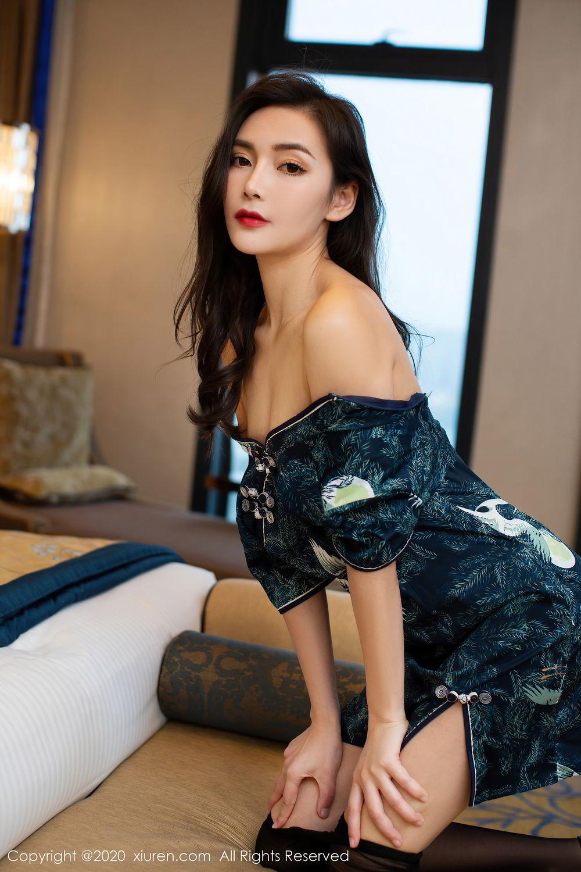 [XiuRen] Vol.2411 Xia Yue 36P, Black Silk, Cheongsam, Tall, Temperament, Xia Yue, Xiuren