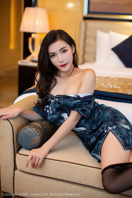 [XiuRen] Vol.2411 Xia Yue 38P, Black Silk, Cheongsam, Tall, Temperament, Xia Yue, Xiuren