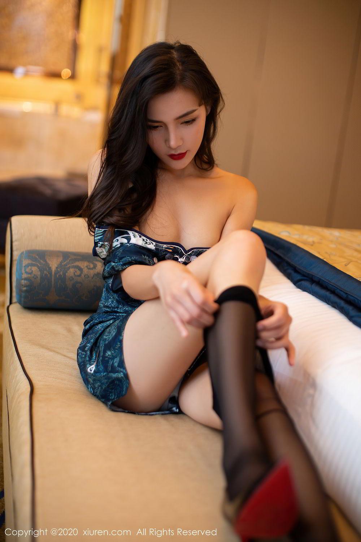 [XiuRen] Vol.2411 Xia Yue 39P, Black Silk, Cheongsam, Tall, Temperament, Xia Yue, Xiuren