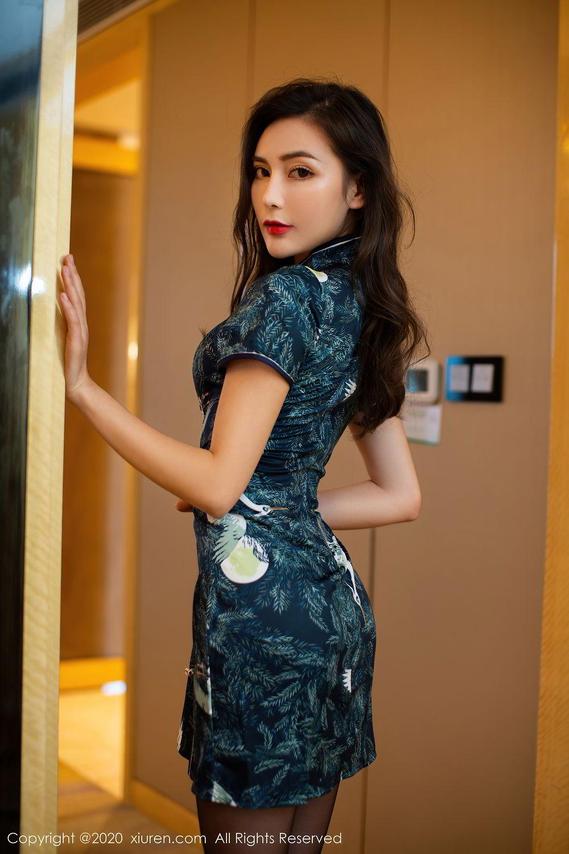 [XiuRen] Vol.2411 Xia Yue 3P, Black Silk, Cheongsam, Tall, Temperament, Xia Yue, Xiuren