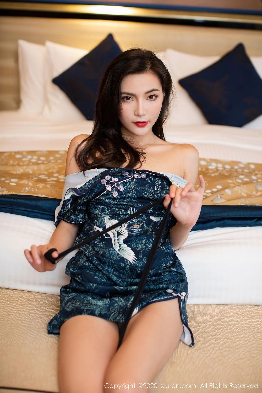[XiuRen] Vol.2411 Xia Yue 47P, Black Silk, Cheongsam, Tall, Temperament, Xia Yue, Xiuren