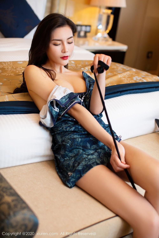 [XiuRen] Vol.2411 Xia Yue 48P, Black Silk, Cheongsam, Tall, Temperament, Xia Yue, Xiuren