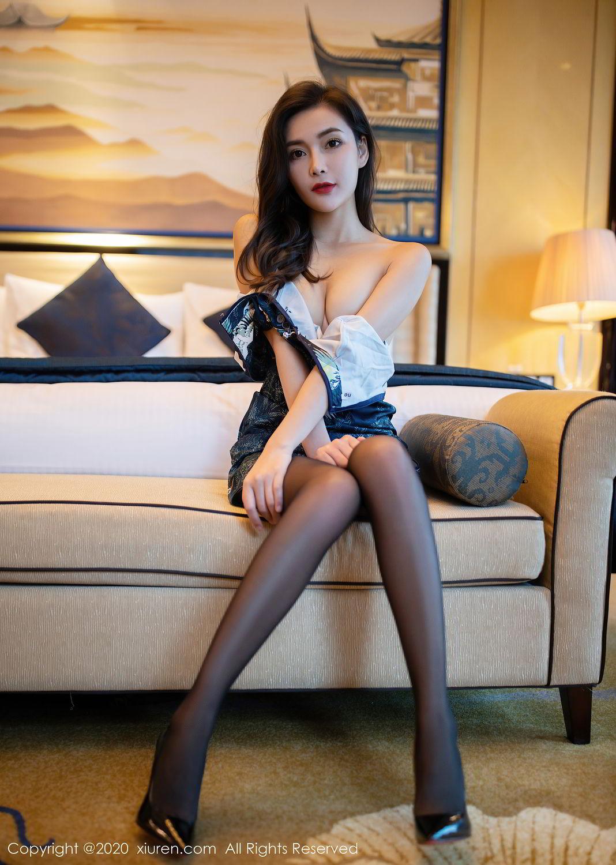 [XiuRen] Vol.2411 Xia Yue 53P, Black Silk, Cheongsam, Tall, Temperament, Xia Yue, Xiuren