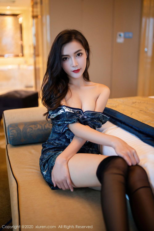 [XiuRen] Vol.2411 Xia Yue 55P, Black Silk, Cheongsam, Tall, Temperament, Xia Yue, Xiuren