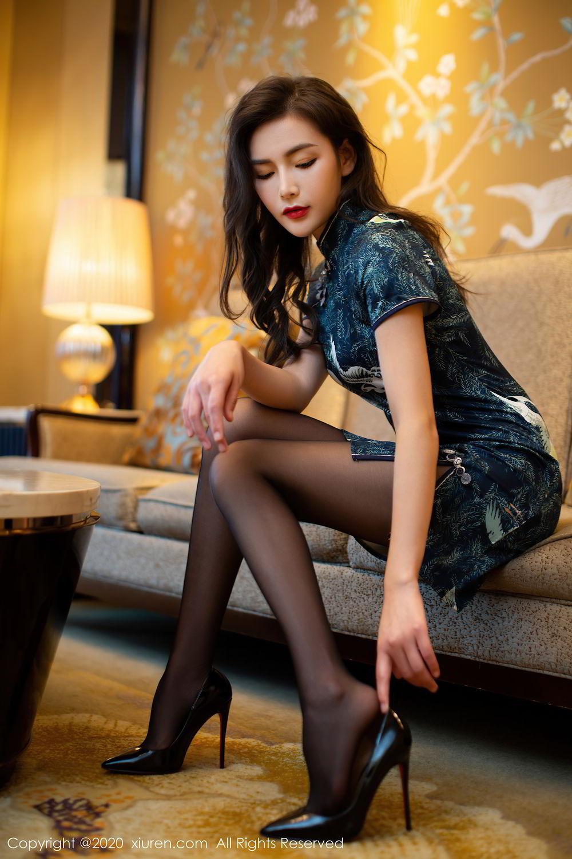 [XiuRen] Vol.2411 Xia Yue 56P, Black Silk, Cheongsam, Tall, Temperament, Xia Yue, Xiuren