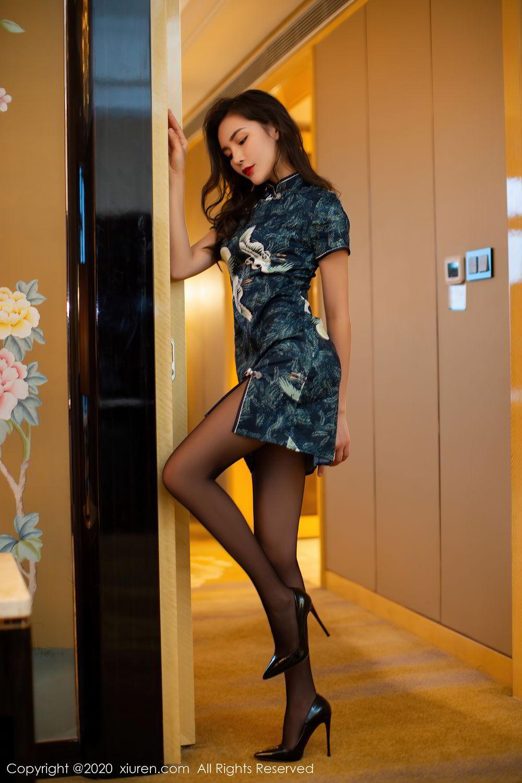[XiuRen] Vol.2411 Xia Yue 61P, Black Silk, Cheongsam, Tall, Temperament, Xia Yue, Xiuren