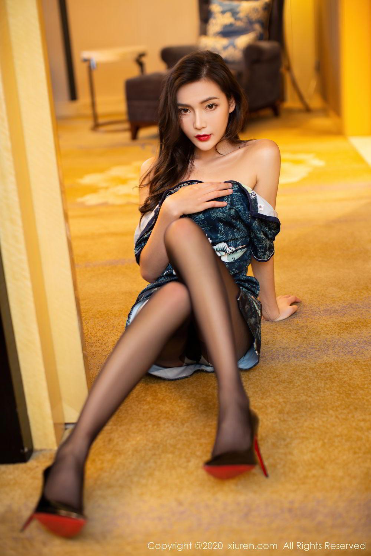 [XiuRen] Vol.2411 Xia Yue 6P, Black Silk, Cheongsam, Tall, Temperament, Xia Yue, Xiuren