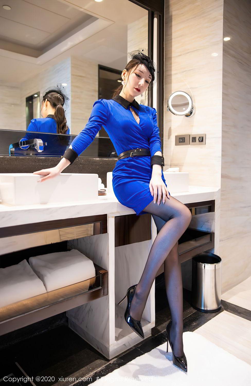 [XiuRen] Vol.2415 Zhou Yu Xi 10P, Black Silk, Underwear, Uniform, Xiuren, Zhou Yu Xi