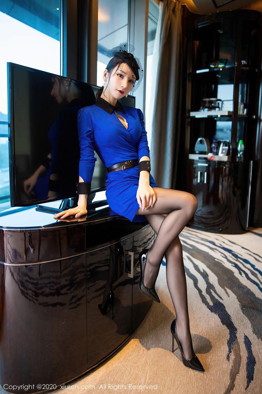 [XiuRen] Vol.2415 Zhou Yu Xi 13P, Black Silk, Underwear, Uniform, Xiuren, Zhou Yu Xi