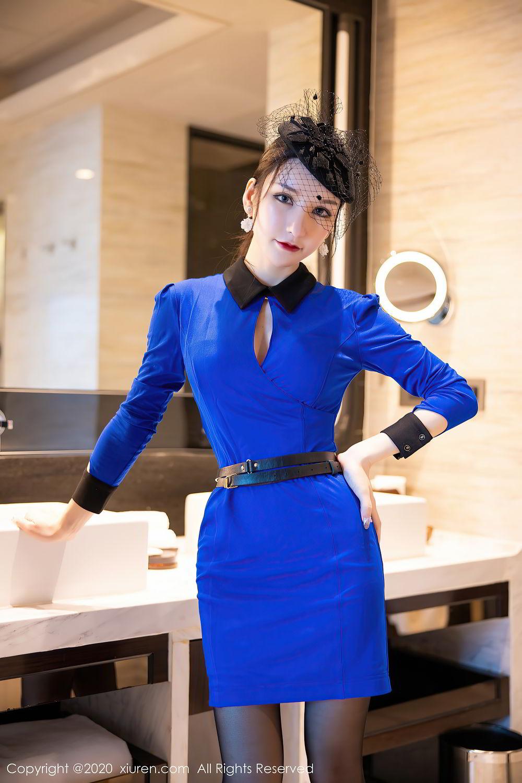 [XiuRen] Vol.2415 Zhou Yu Xi 1P, Black Silk, Underwear, Uniform, Xiuren, Zhou Yu Xi