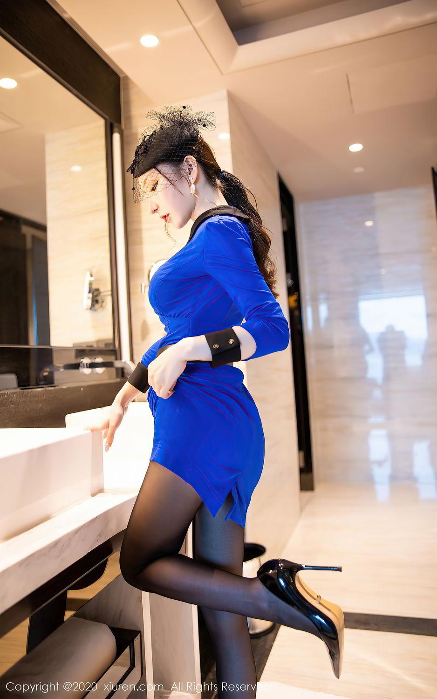 [XiuRen] Vol.2415 Zhou Yu Xi 4P, Black Silk, Underwear, Uniform, Xiuren, Zhou Yu Xi