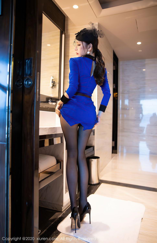 [XiuRen] Vol.2415 Zhou Yu Xi 5P, Black Silk, Underwear, Uniform, Xiuren, Zhou Yu Xi