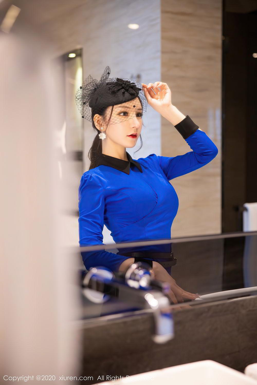 [XiuRen] Vol.2415 Zhou Yu Xi 7P, Black Silk, Underwear, Uniform, Xiuren, Zhou Yu Xi