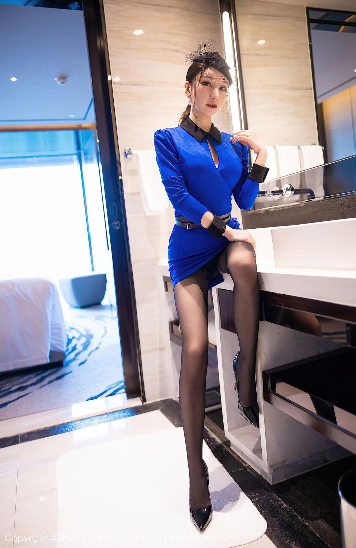[XiuRen] Vol.2415 Zhou Yu Xi 9P, Black Silk, Underwear, Uniform, Xiuren, Zhou Yu Xi