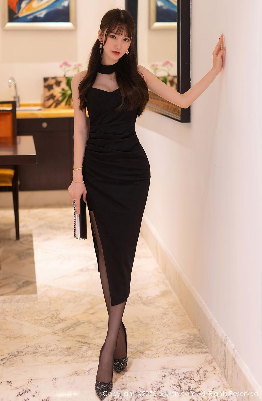 [XiuRen] Vol.2418 Zhou Yu Xi 1P, Black Silk, Tall, Underwear, Xiuren, Zhou Yu Xi