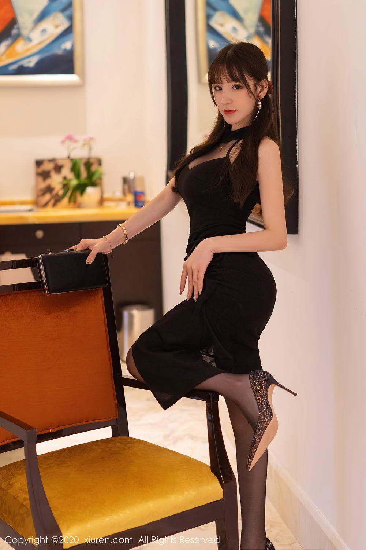 [XiuRen] Vol.2418 Zhou Yu Xi 9P, Black Silk, Tall, Underwear, Xiuren, Zhou Yu Xi