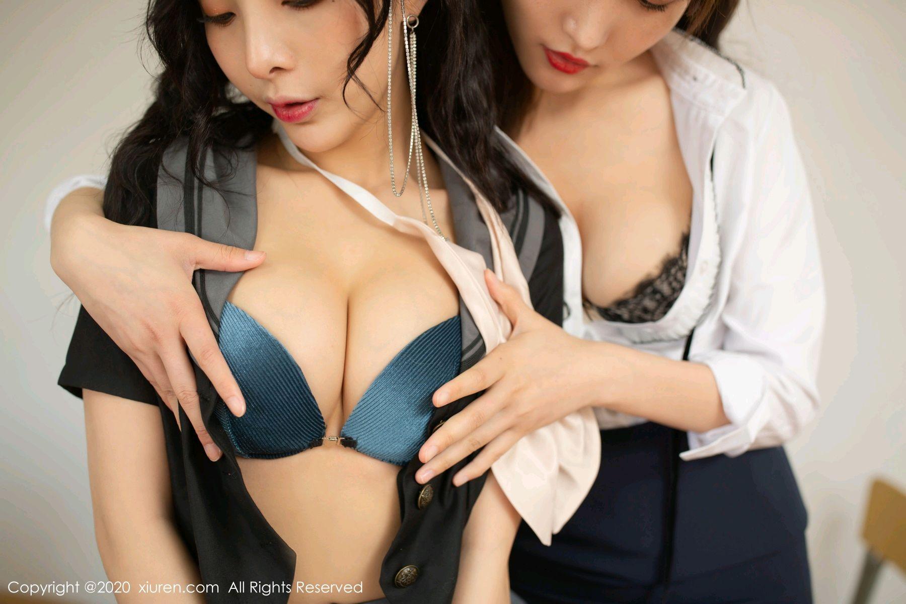 [XiuRen] Vol.2420 Chen Xiao Miao and Lu Xuan Xuan 37P, Chen Xiao Miao, Lu Xuan Xuan, School Uniform, Sisters, Xiuren