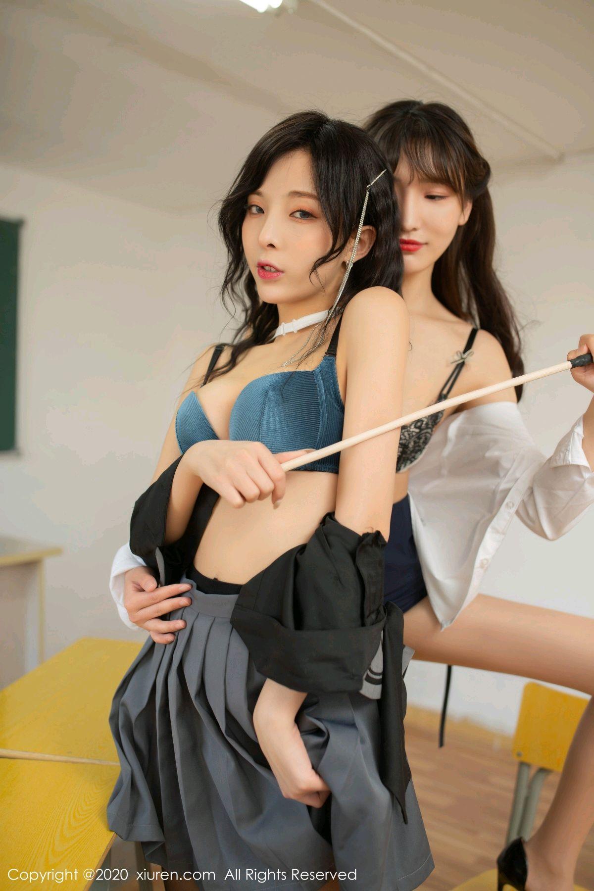 [XiuRen] Vol.2420 Chen Xiao Miao and Lu Xuan Xuan 63P, Chen Xiao Miao, Lu Xuan Xuan, School Uniform, Sisters, Xiuren