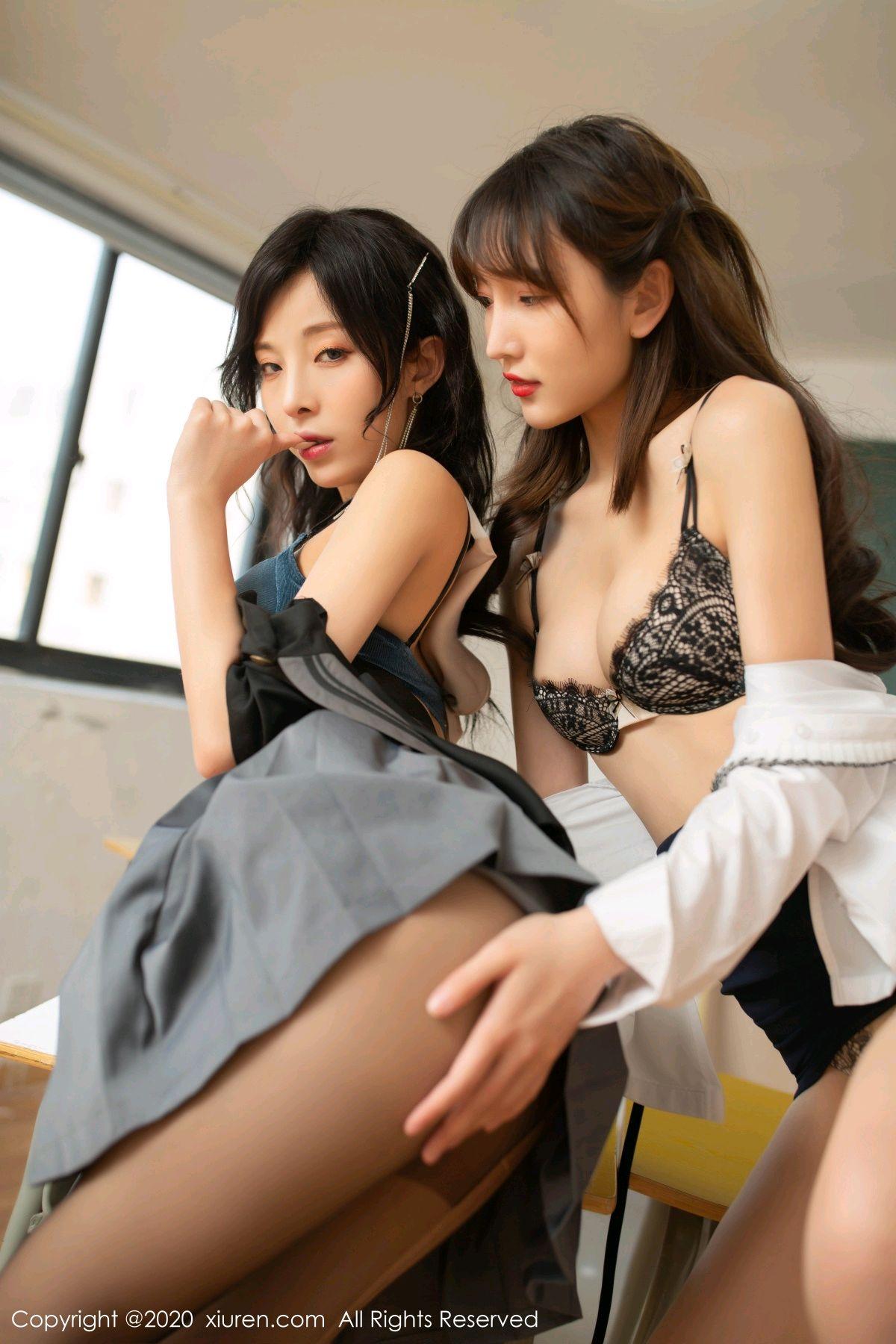 [XiuRen] Vol.2420 Chen Xiao Miao and Lu Xuan Xuan 64P, Chen Xiao Miao, Lu Xuan Xuan, School Uniform, Sisters, Xiuren