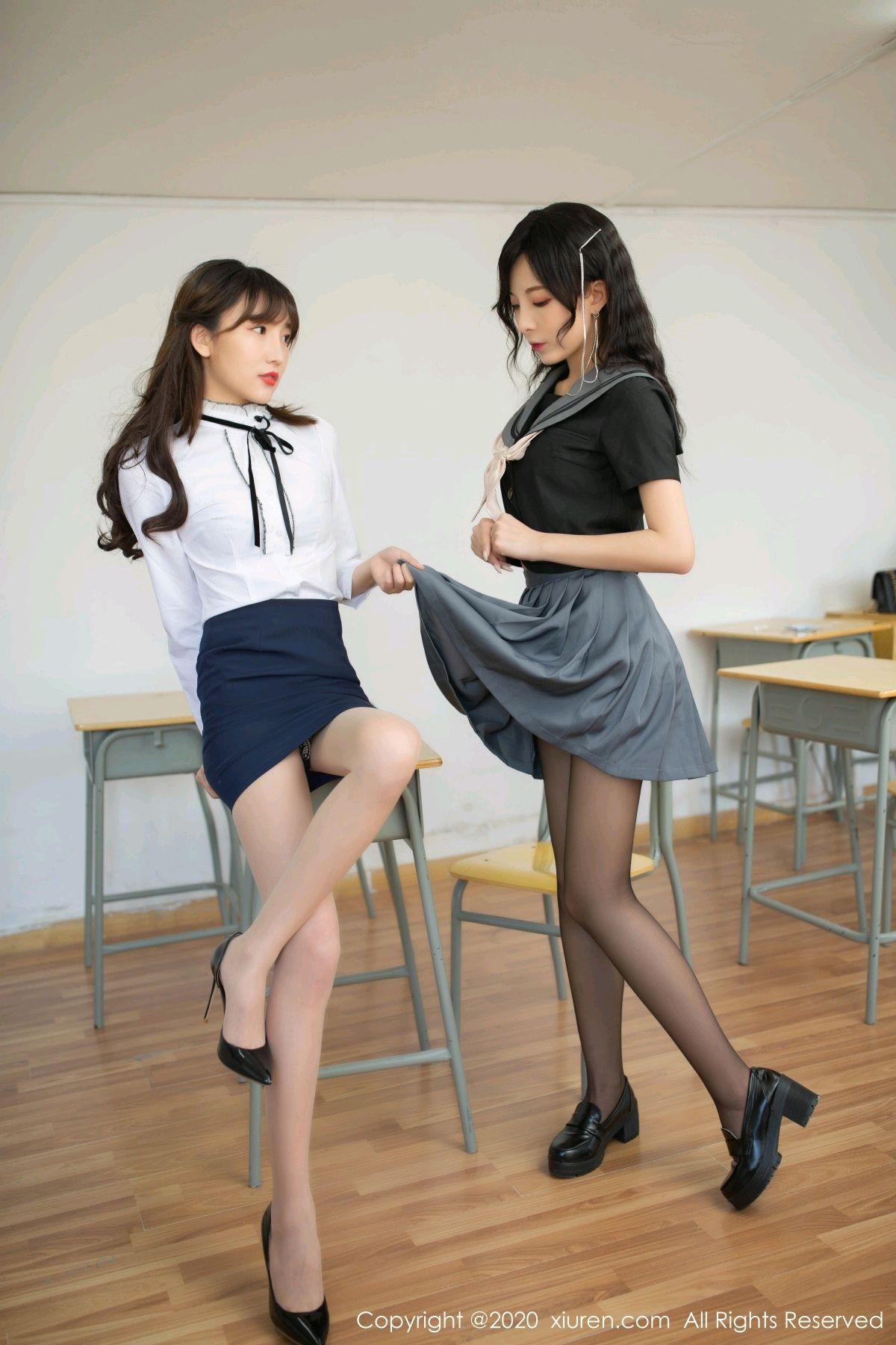 [XiuRen] Vol.2420 Chen Xiao Miao and Lu Xuan Xuan 72P, Chen Xiao Miao, Lu Xuan Xuan, School Uniform, Sisters, Xiuren