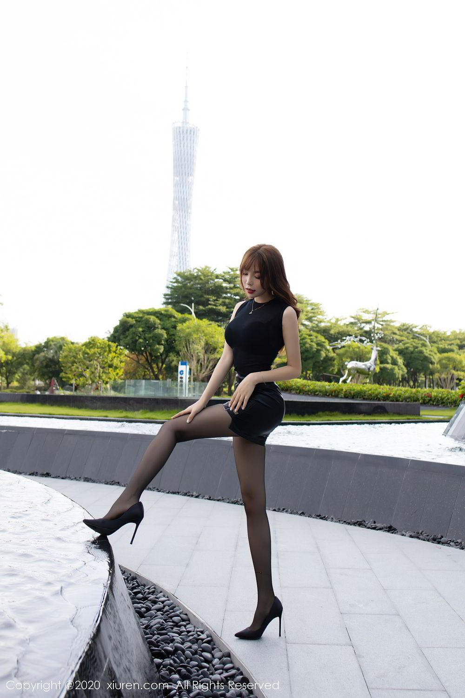 [XiuRen] Vol.2445 Zhi Zhi Booty 10P, Black Silk, Chen Zhi, Sexy, Street, Xiuren