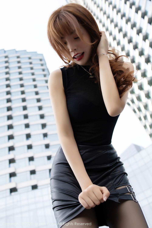 [XiuRen] Vol.2445 Zhi Zhi Booty 24P, Black Silk, Chen Zhi, Sexy, Street, Xiuren