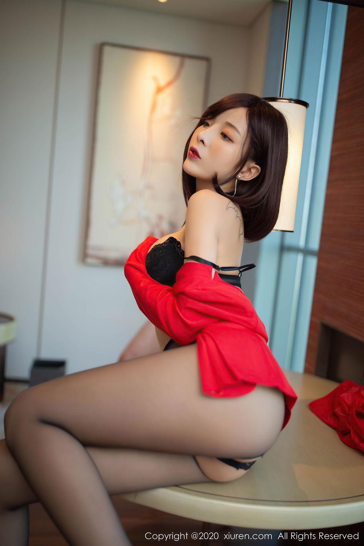 [XiuRen] Vol.2480 Chen Xiao Miao 20P, Black Silk, Chen Xiao Miao, Underwear, Xiuren