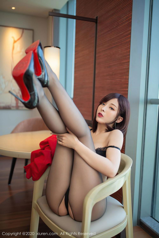 [XiuRen] Vol.2480 Chen Xiao Miao 24P, Black Silk, Chen Xiao Miao, Underwear, Xiuren