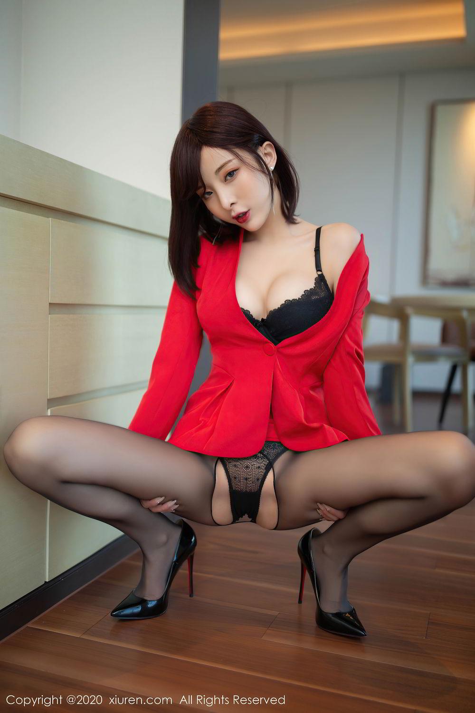 [XiuRen] Vol.2480 Chen Xiao Miao 3P, Black Silk, Chen Xiao Miao, Underwear, Xiuren