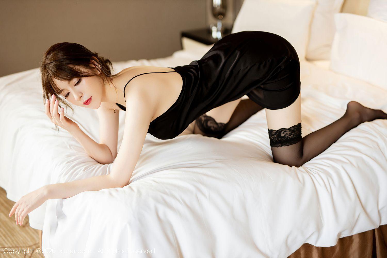 [XiuRen] Vol.2483 Yoo You You 5P, Black Silk, Tall, Xiuren, Yoo You You