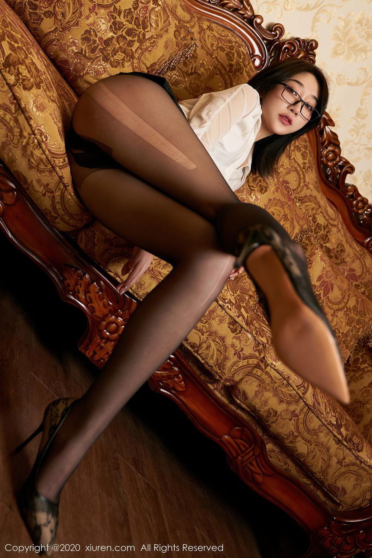 [XiuRen] Vol.2492 Jiu Yue Sheng 10P, Black Silk, Tall, Underwear, Xiao Jiu Yue, Xiuren