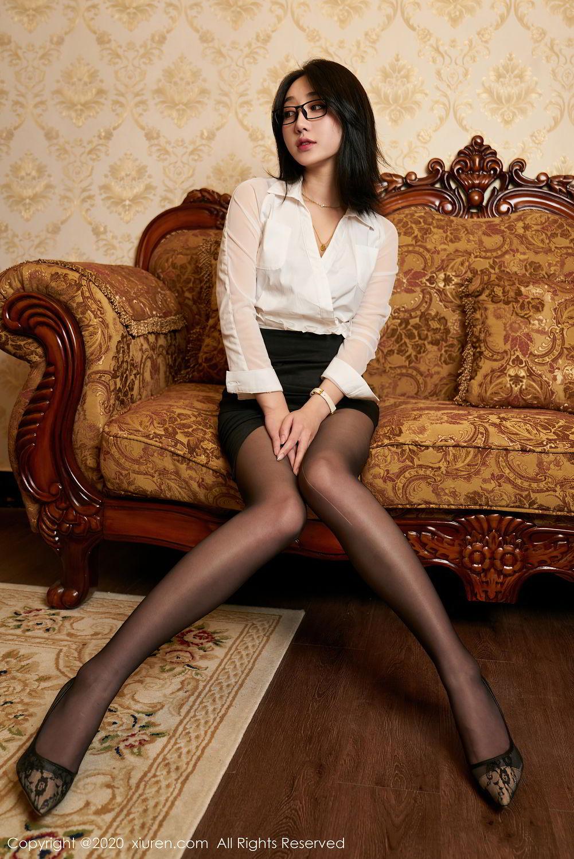 [XiuRen] Vol.2492 Jiu Yue Sheng 12P, Black Silk, Tall, Underwear, Xiao Jiu Yue, Xiuren