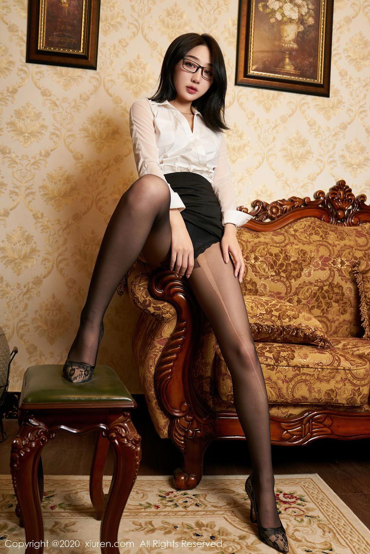 [XiuRen] Vol.2492 Jiu Yue Sheng 14P, Black Silk, Tall, Underwear, Xiao Jiu Yue, Xiuren