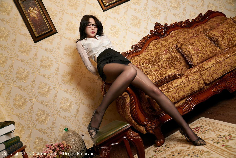 [XiuRen] Vol.2492 Jiu Yue Sheng 15P, Black Silk, Tall, Underwear, Xiao Jiu Yue, Xiuren