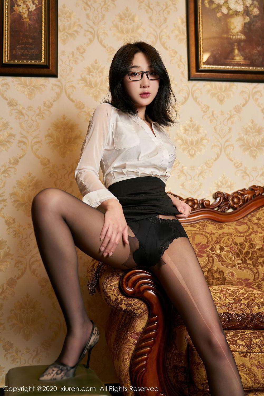 [XiuRen] Vol.2492 Jiu Yue Sheng 16P, Black Silk, Tall, Underwear, Xiao Jiu Yue, Xiuren
