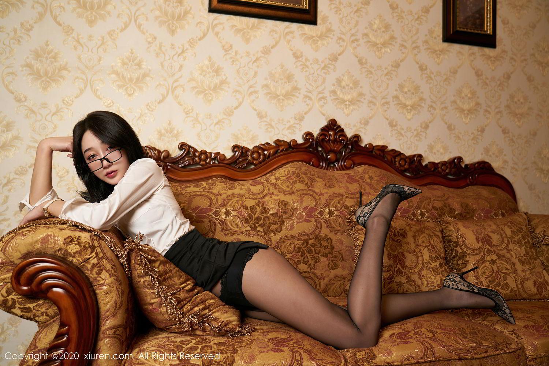 [XiuRen] Vol.2492 Jiu Yue Sheng 17P, Black Silk, Tall, Underwear, Xiao Jiu Yue, Xiuren
