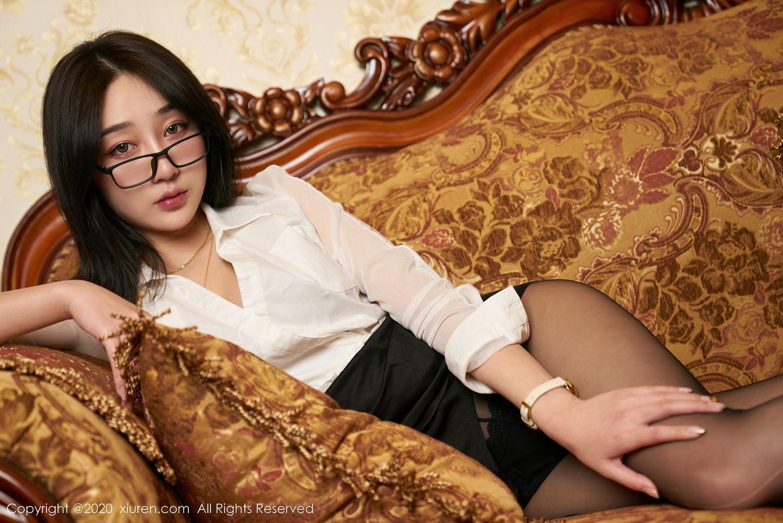 [XiuRen] Vol.2492 Jiu Yue Sheng 19P, Black Silk, Tall, Underwear, Xiao Jiu Yue, Xiuren