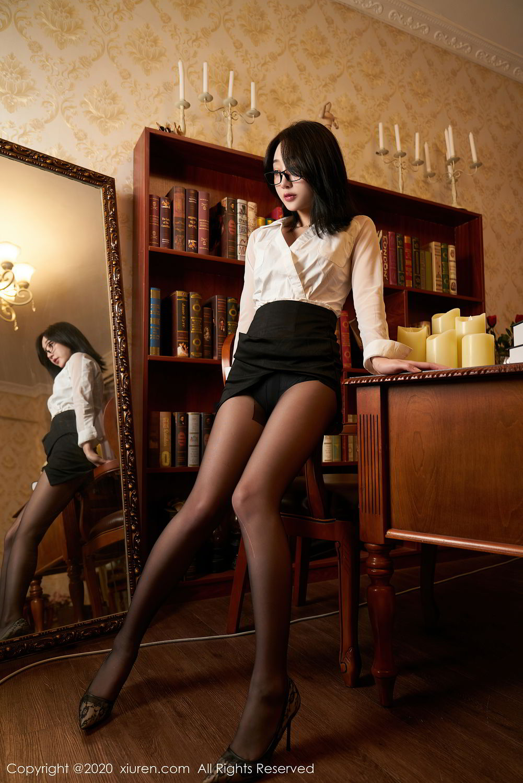 [XiuRen] Vol.2492 Jiu Yue Sheng 23P, Black Silk, Tall, Underwear, Xiao Jiu Yue, Xiuren