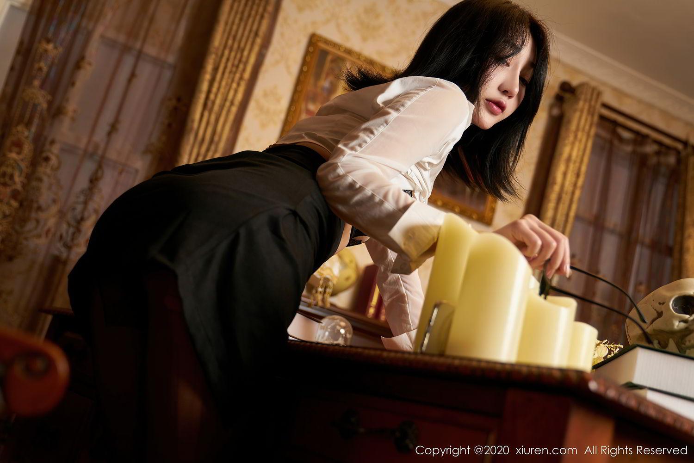 [XiuRen] Vol.2492 Jiu Yue Sheng 30P, Black Silk, Tall, Underwear, Xiao Jiu Yue, Xiuren
