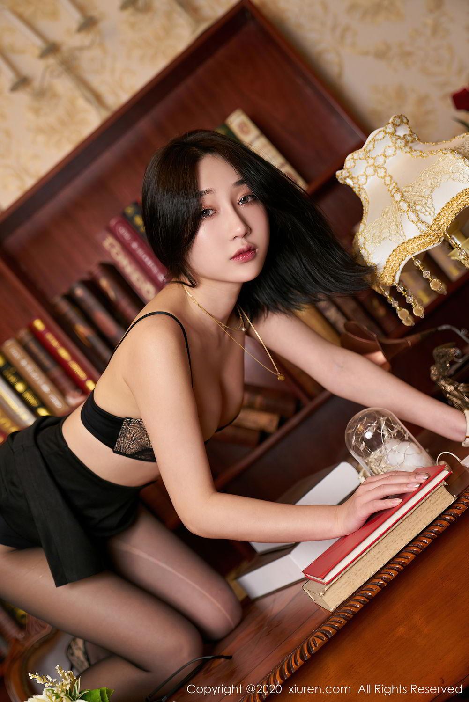 [XiuRen] Vol.2492 Jiu Yue Sheng 40P, Black Silk, Tall, Underwear, Xiao Jiu Yue, Xiuren
