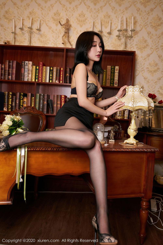 [XiuRen] Vol.2492 Jiu Yue Sheng 44P, Black Silk, Tall, Underwear, Xiao Jiu Yue, Xiuren