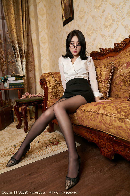 [XiuRen] Vol.2492 Jiu Yue Sheng 59P, Black Silk, Tall, Underwear, Xiao Jiu Yue, Xiuren