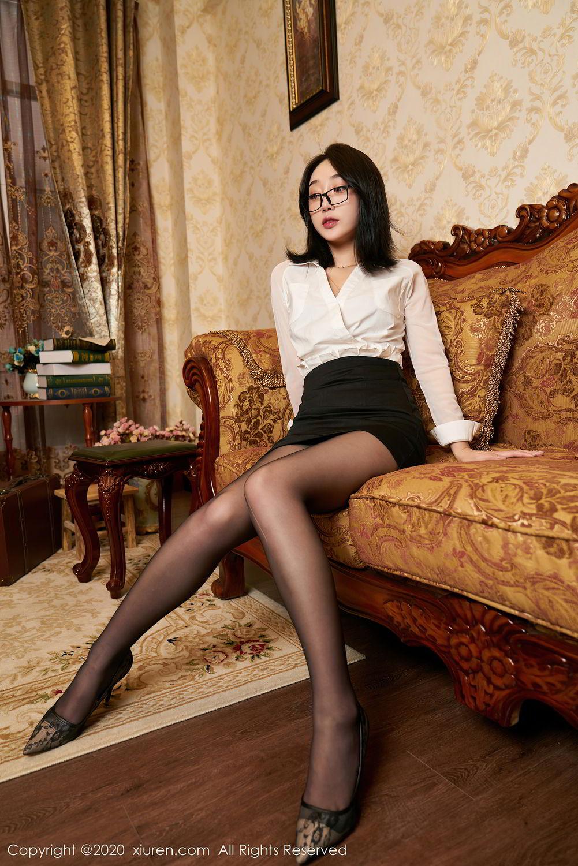 [XiuRen] Vol.2492 Jiu Yue Sheng 60P, Black Silk, Tall, Underwear, Xiao Jiu Yue, Xiuren