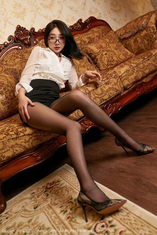 [XiuRen] Vol.2492 Jiu Yue Sheng 9P, Black Silk, Tall, Underwear, Xiao Jiu Yue, Xiuren